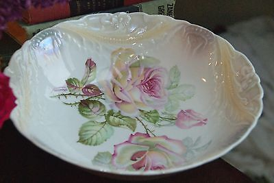 VINTAGE  GERMAN PORCELAIN SERVING BOWL PALE CREAM PINK CABBAGE ROSE CLAIRON