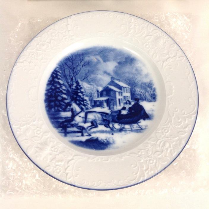 Blue & White Porcelain Collection Winter Sleigh Dessert Plate