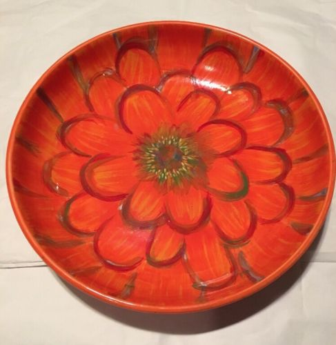 222 FIFTH AZALEA ORANGE ROUND SERVING BOWL 13
