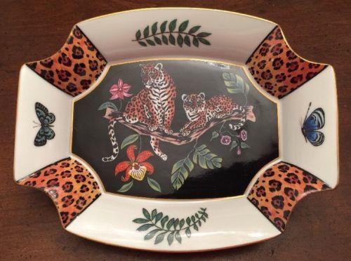 Vintage Lynn Chase Jaguar Jungle Octagon Shape Dish • Candy Dish • 1994