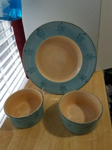 3 pc Set HOME PASTIS Blue w/Ivory Leaves 1 DP,  2 Soup Bowls