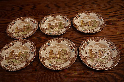 Set of 6 Vintage ENGLISH Pottery Dinner Plates - ENGLISH WARWICK CASTLE