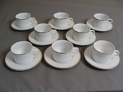 8 White W/Gold Edge Faberware Cups & Saucers In The Elegance Gold Pattern #4533