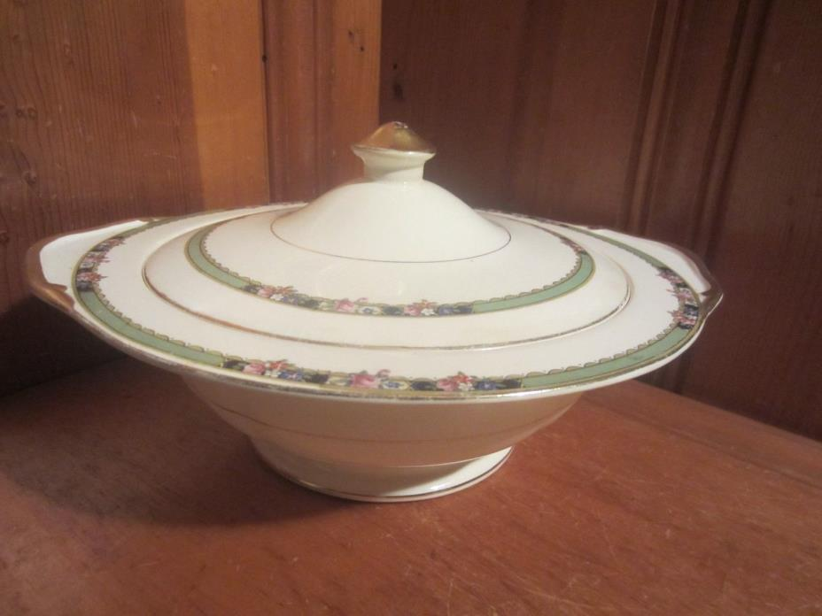 Antique C C Thompson Semi-Porcelain Cover Casserole Serving Dish Bowl Lid Floral