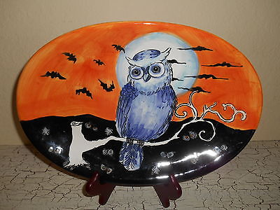MAXCERA Owl Silhouette Dinnerware Oval Platter Fall Halloween Orange & Black