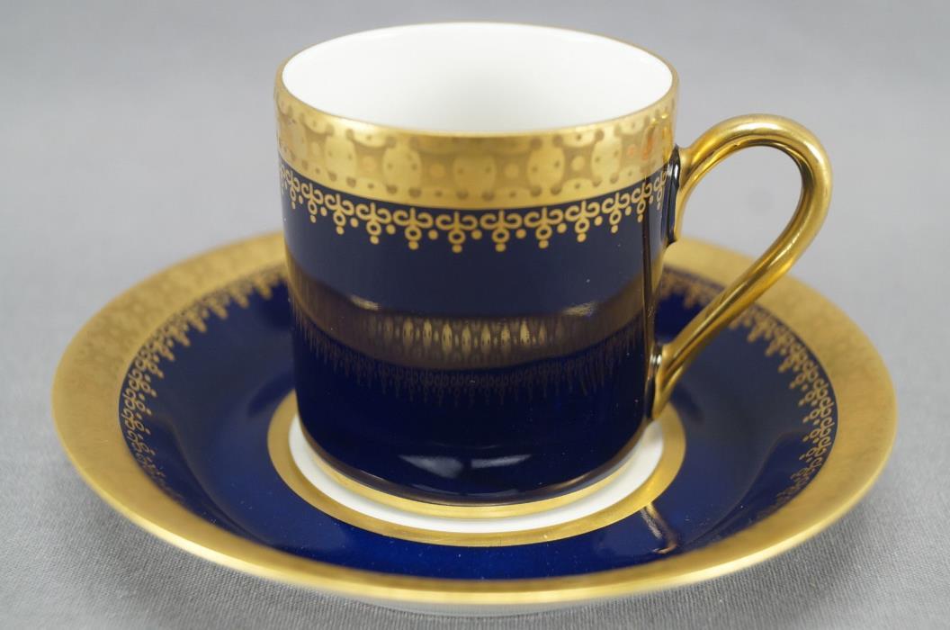 Reichenbach Cobalt & Gold Porcelain Demitasse Cup & Saucer Circa 1968 - 1990