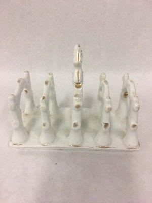 Vintage  Porcelain Toast Rack Gold Trim Mid Century hand painted 4 slice handle