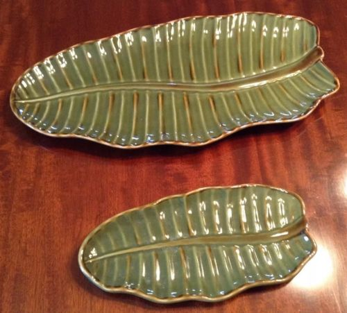 Set of 2 Pottery Barn Banana Palm Leaf Tray Decorative Plate lg 15 1/2