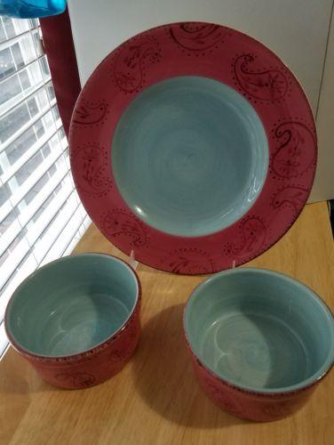 3 pc Set HOME PASTIS Red w/ Blue Paisley 1 DP,  2 Soup Bowls