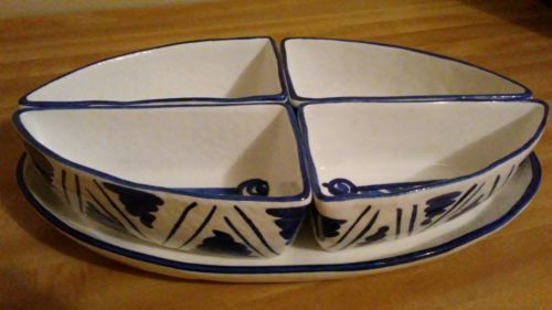 Palermo By Artimino Serving Set~Handpainted Earthenware~Divided/5pce Blue/White