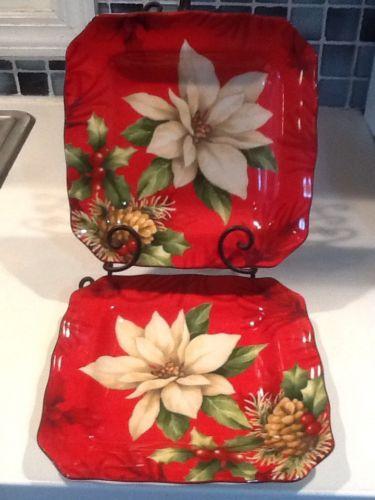 222Fifth Poinsettia Holly Christmas  4 New Salad Plates