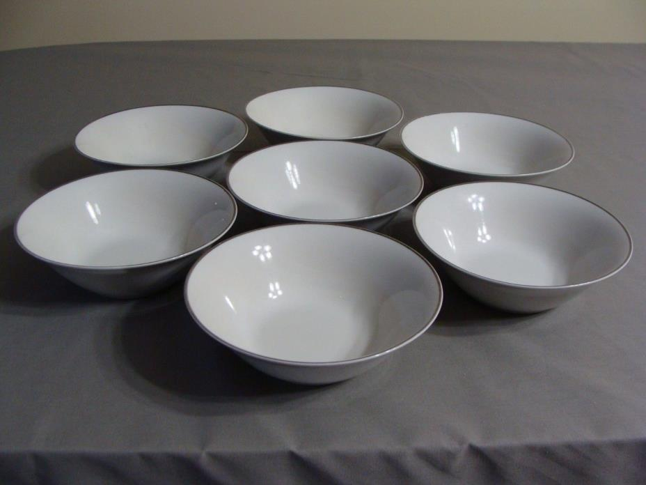 7 White Porcelain Soup Bowls With Silver Trim/Edge