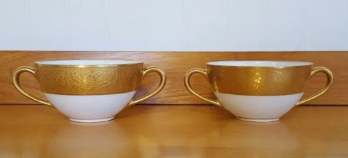Set of 2 Hutschenreuther Bavaria Gold Encrusted Pen Line White Bouillon Cup