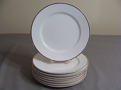 8 White W/Gold Edge Faberware Dinner Plates In The Elegance Gold Pattern #4533
