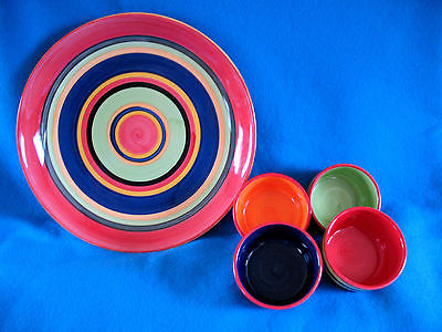 Kitchen PREP 201 Large Multi-Colored Striped BOWL & Four 4