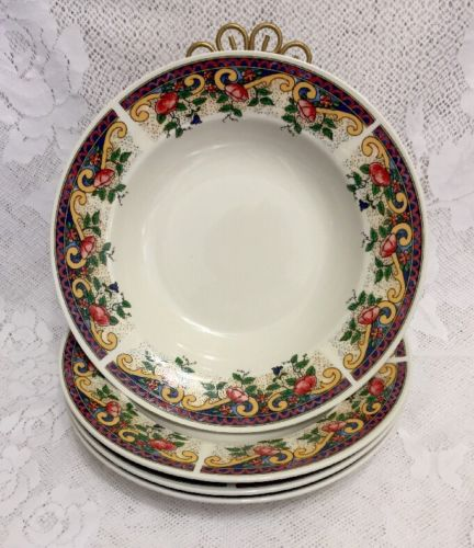 "American Atelier at Home Rooster 5229 Soup Bowl 9"" Floral Border Set 4"