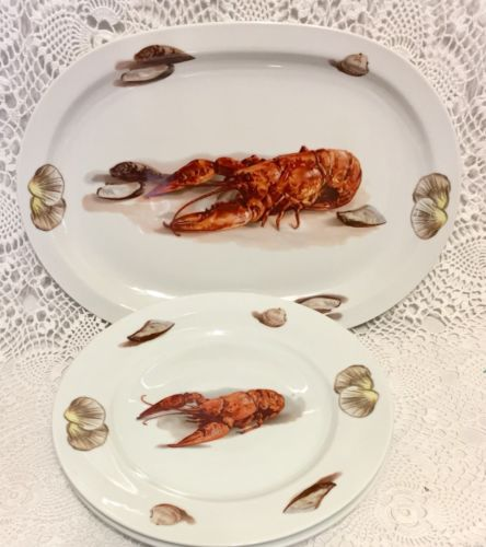J.K.W. Porcelain Bavaria Western Germany 2Lobster Dinner Plates & Platter