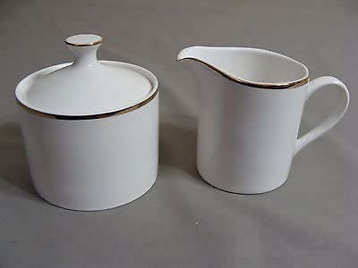 White W/Gold Edge Faberware Creamer & Sugar Bowl, Elegance Gold Pattern #4533
