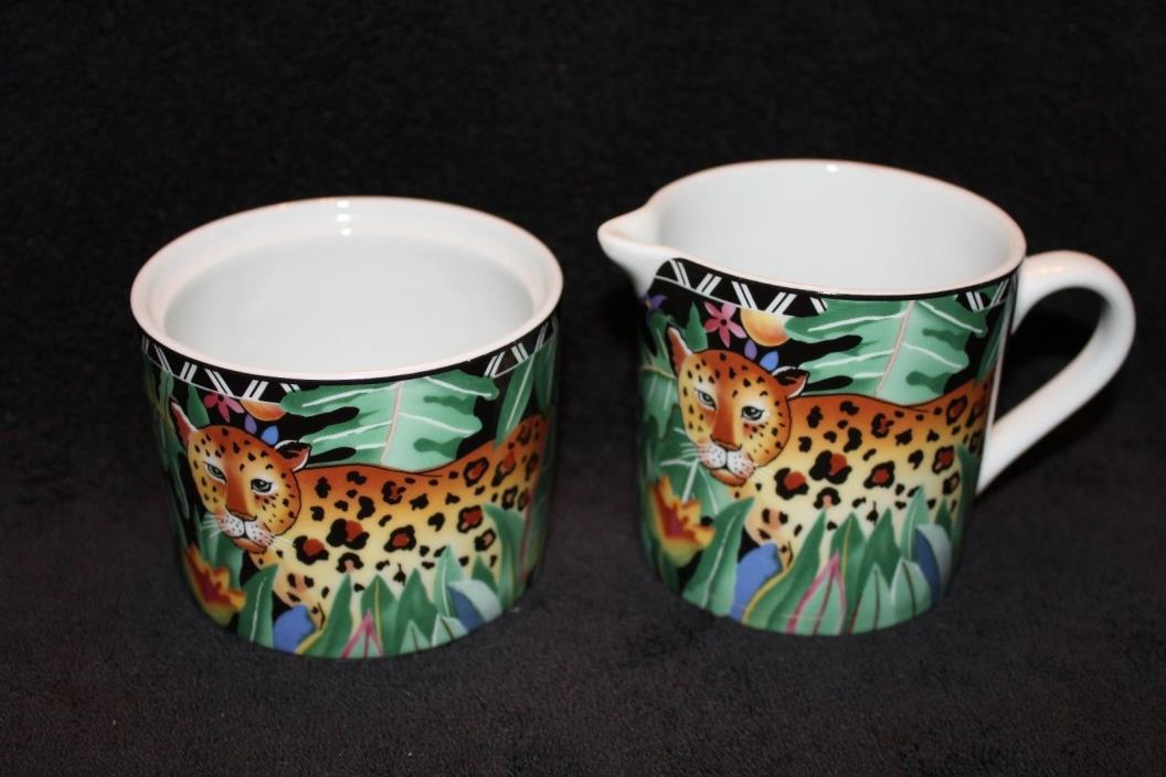 Ultra Porcelain - By Sakura - Magic Jungle Creamer & Sugar Bowl NO LID - 1996