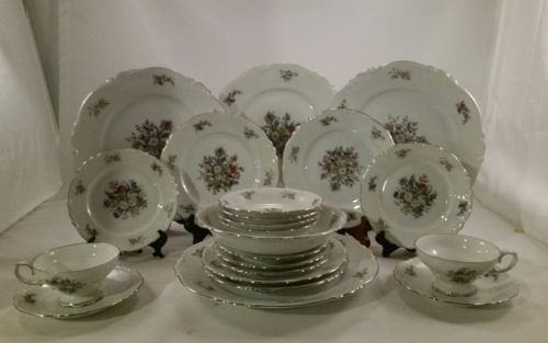 22 NEW CROWN BAVARIA BOUQUET DISHES FREE SHIPPING