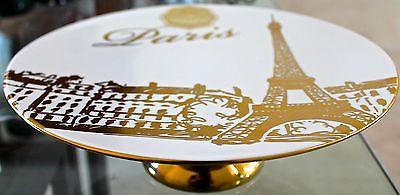 CIROA LUXE PEDISTAL SERVING DISH GOLD METALLIC PARIS PORCELAIN NEW