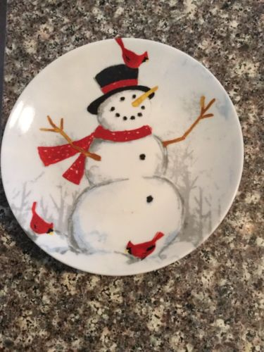 222 Fifth Winter Cheer Appetizer Plates Set Of 4 Christmas Snowman
