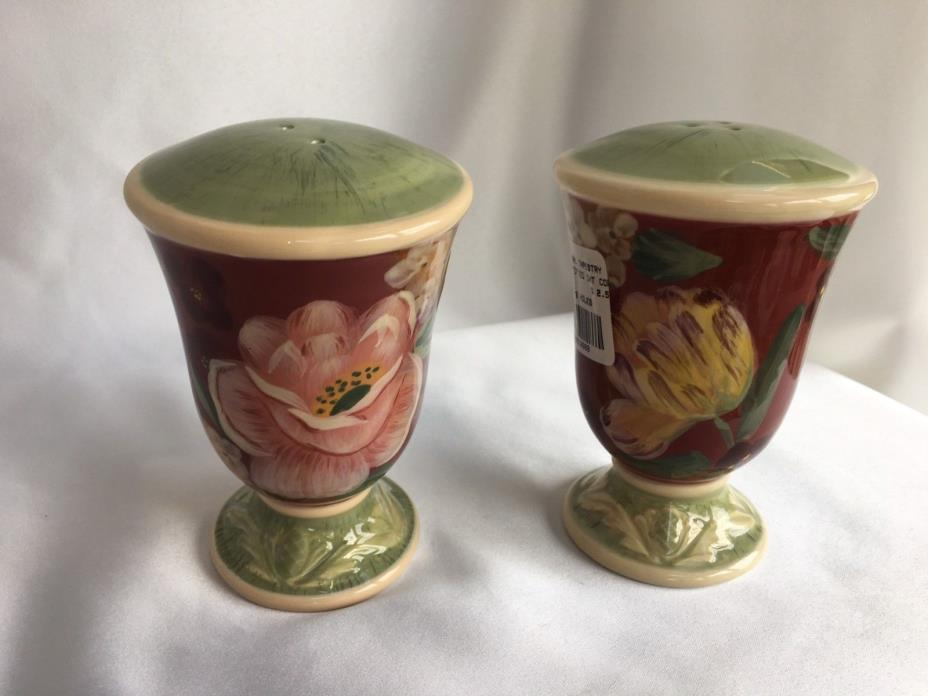 CERTIFIED INTERNATIONAL PAMELA GLADDING FLORAL TAPESTRY SALT & PEPPER SHAKERS