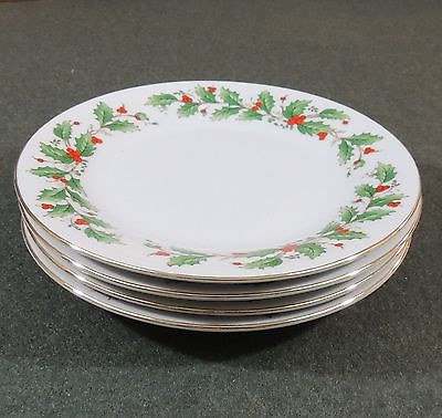4 China Pearl Noel Christmas Xmas Holly Berries Salad Plates Black Back Stamp