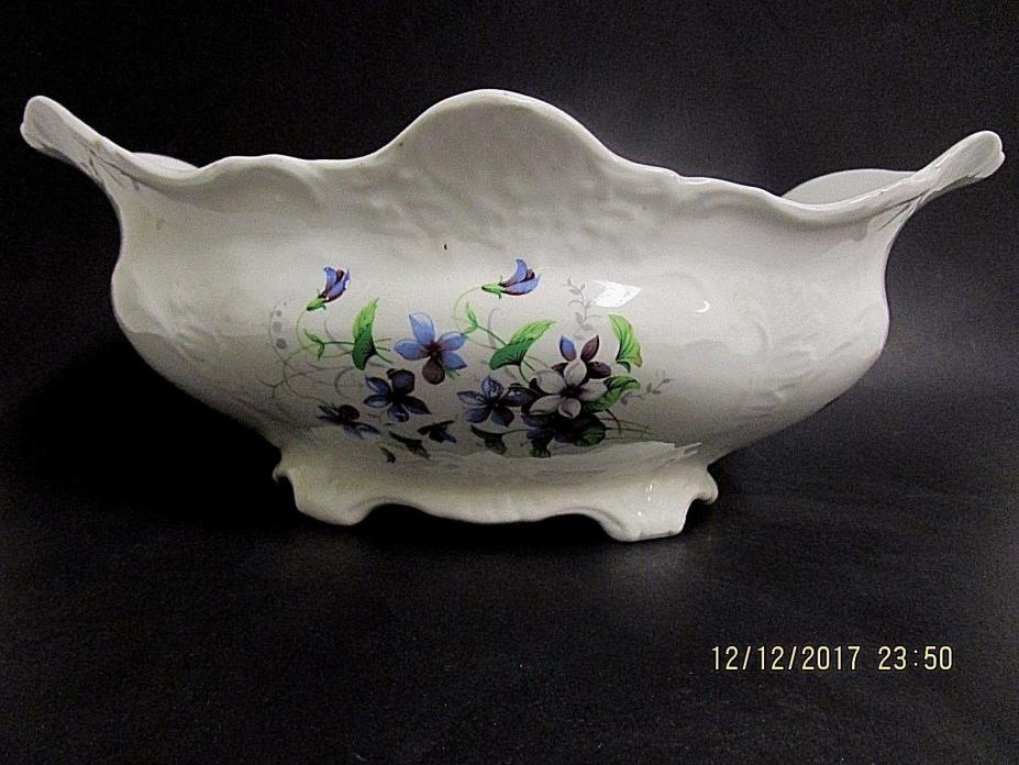 Antique Sevres China USA Oval Footed Serving Bowl White Floral Hand Painted