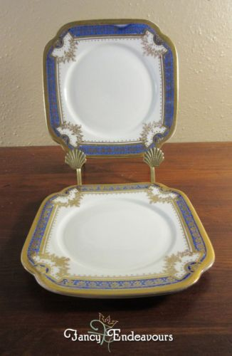 TWO Roslyn China England Porcelain Cobalt Blue and Gold Dessert Plates