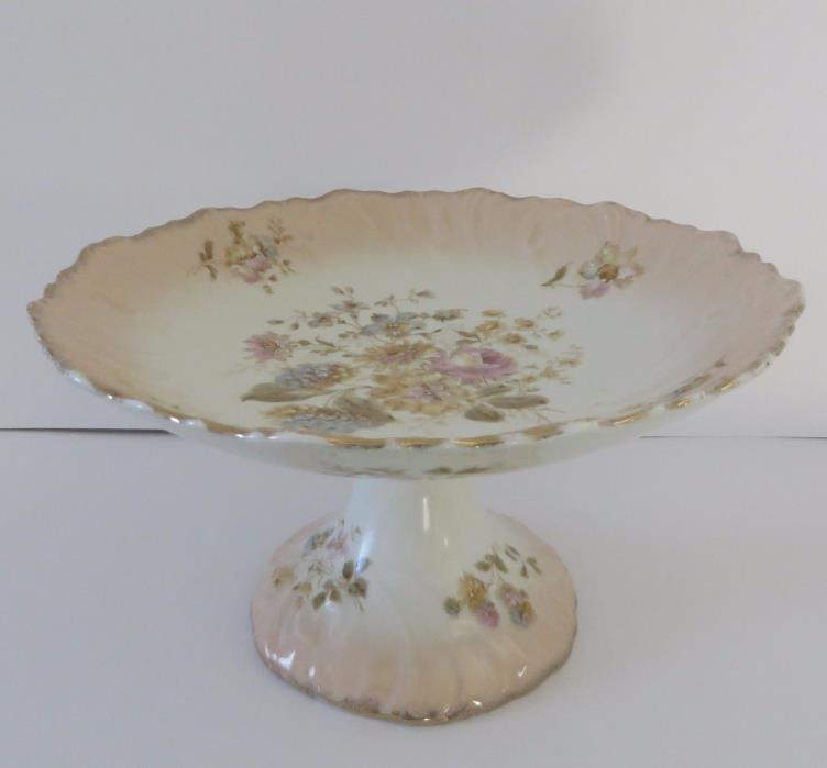 FOOTED COMPOTE/CAKE PLATE, German Porcelain, Mid-19th Century, Hand Decorated