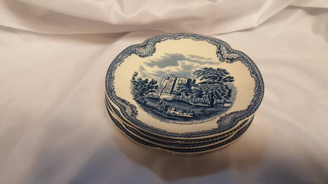 4 Blue Old Britian Castles Johnson Brothers Saucers