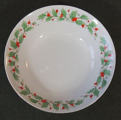 China Pearl Noel Round Vegetable Salad Pasta Bowl Christmas Xmas Brown Backstamp