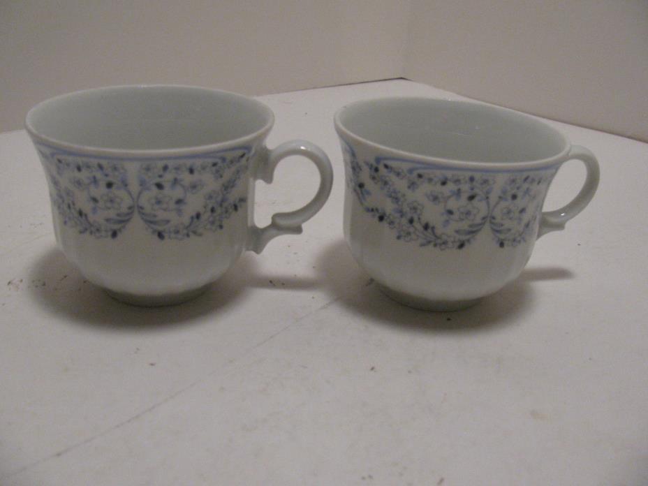 2 - Wunsiedel Retsch Bavaria Porcelain Blue/White Cups - Floral Motif