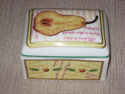 SUTHERLAND BONE CHINA SMALL RECTANGLE COVERED TRINKET BOX FRUITFUL  ENGLAND