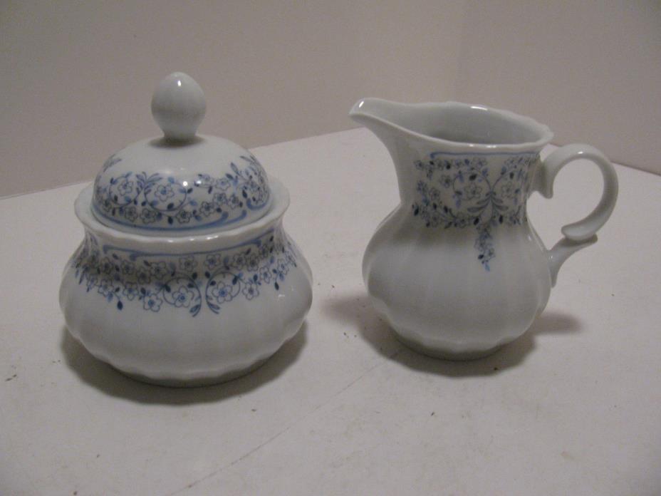 Wunsiedel Retsch Bavaria Porcelain Blue & white Sugar/Creamer - Floral Motif