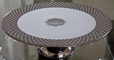 CIROA LUXE PLATINUM METTALIC LATTIS PEDESTAL PLATE CAKE PORCELAIN NEW 11IN ROUND