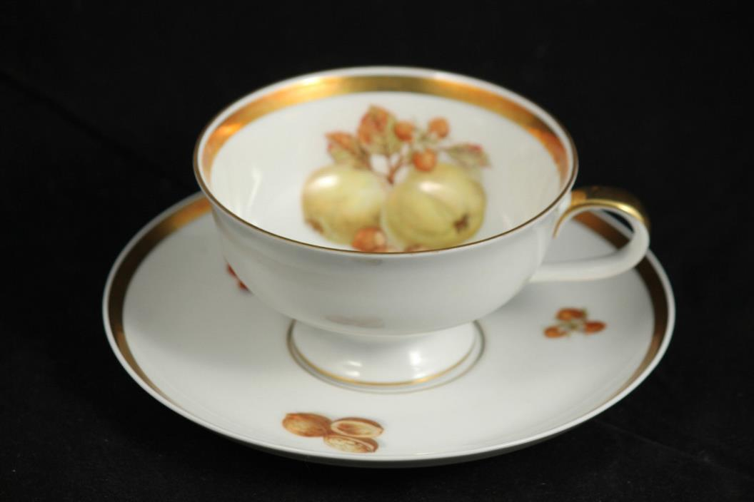 Golden Crown Jaeger PMR E&R Bavaria Germany Cup & Saucer Green Apple Collectible