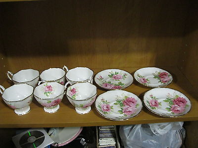 HUGE VINTAGE AMERICAN BEAUTY 6 CUPS & 4 MATCHING SAUCERS ROYAL ALBERT LOT