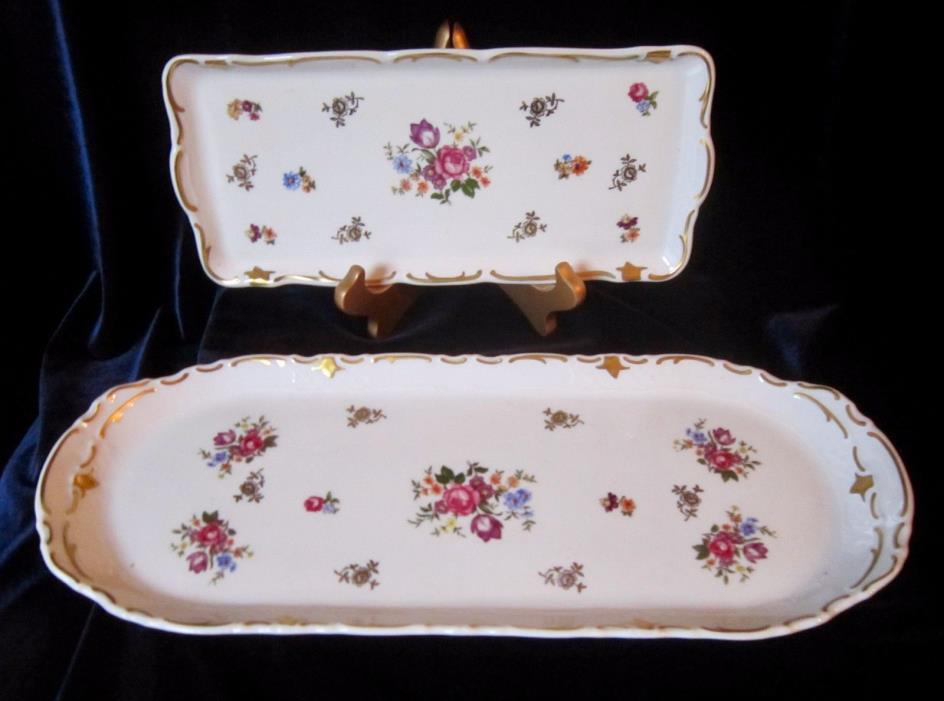Reichenbach Oval Serving Tray 15 in. & Rectangular Vanity Tray 10 in -former GDR