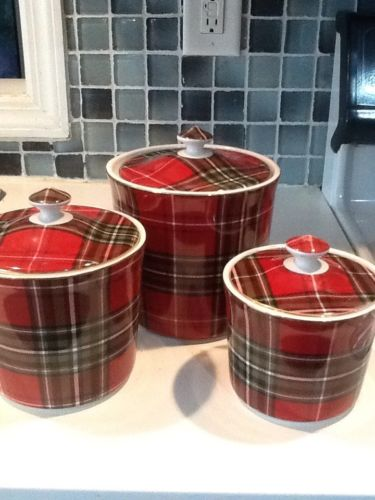 222Fifth Wexford Christmas Plaid New 6 Pieces 3 Canisters With 3 Lids