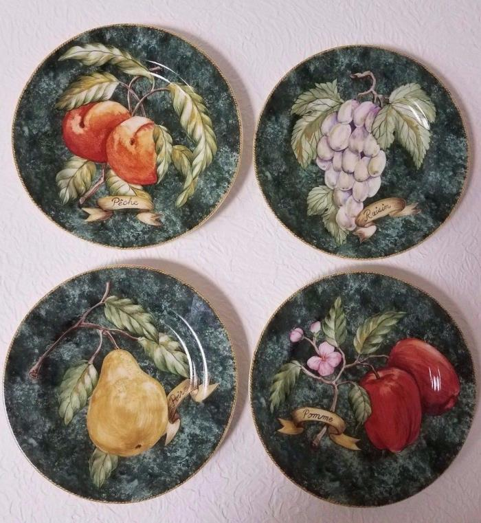 AMERICAN ITELIER SET OF 4 LATTICE FRUIT PORCELAIN SALAD/DESSERT PLATES