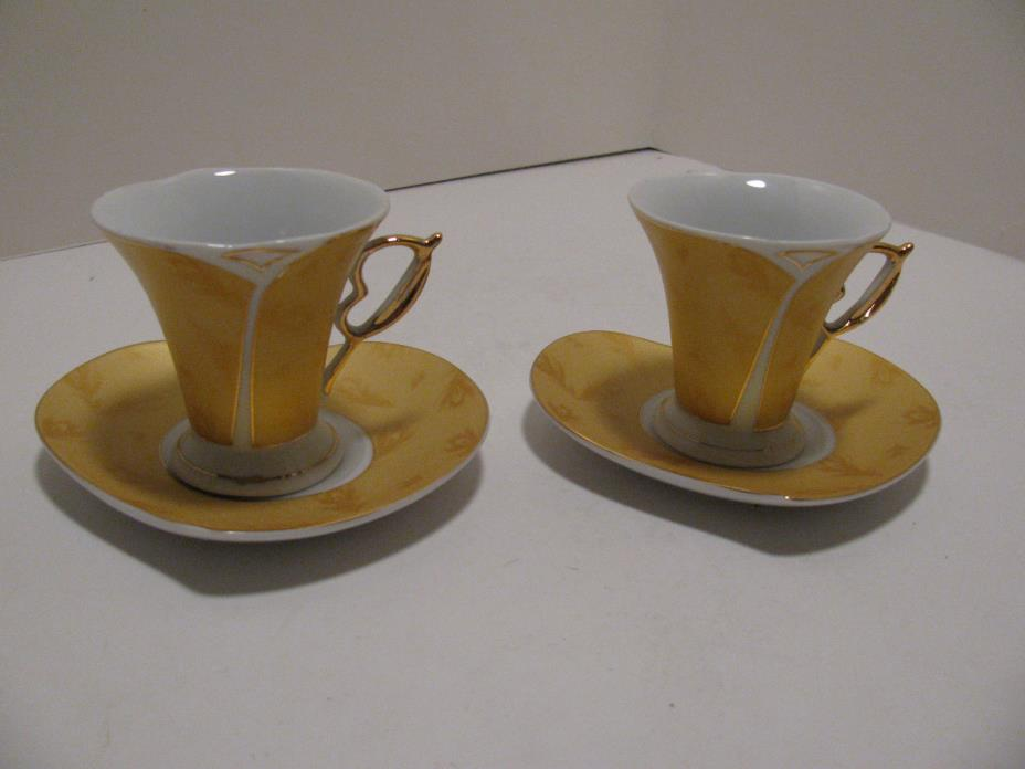 Gift Plus Fine Porcelain Tea Cups & Heart Shaped Saucers - Set of 2