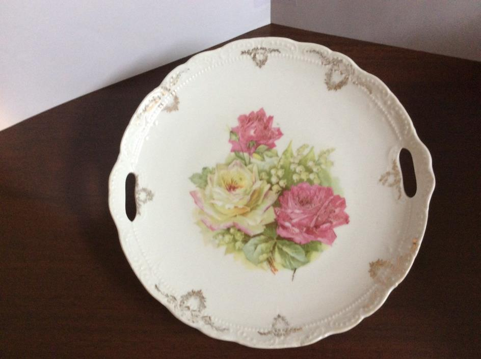 GERMAN CHINA PLATTER WITH CUT OUT HANDLES, MANUFACTURES MARK