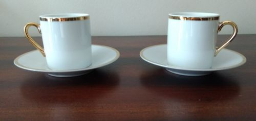 Japanese Porcelain White Gold Gilt Demitasse cups and saucers Set of 2