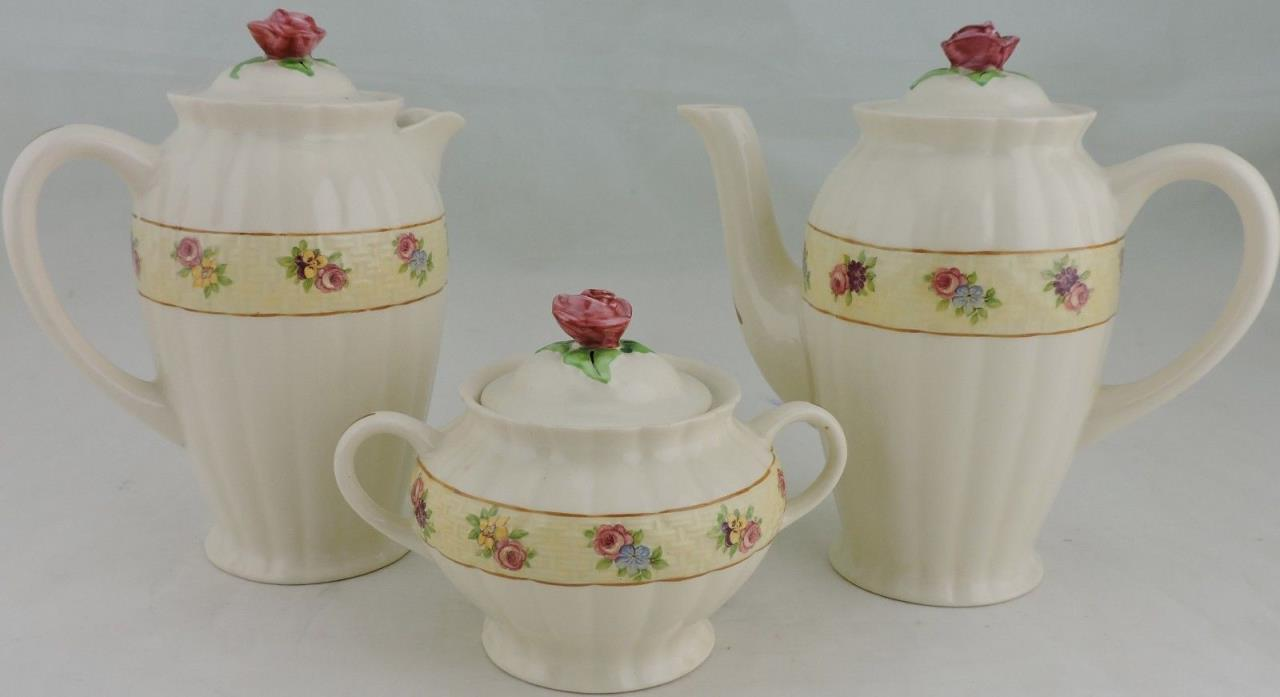 ANTIQUE ENGLAND AMBASSADOR WARE BASKET-WEAVE,ROSE/FLORAL CREAMER,BOWL,TEAPOT SET