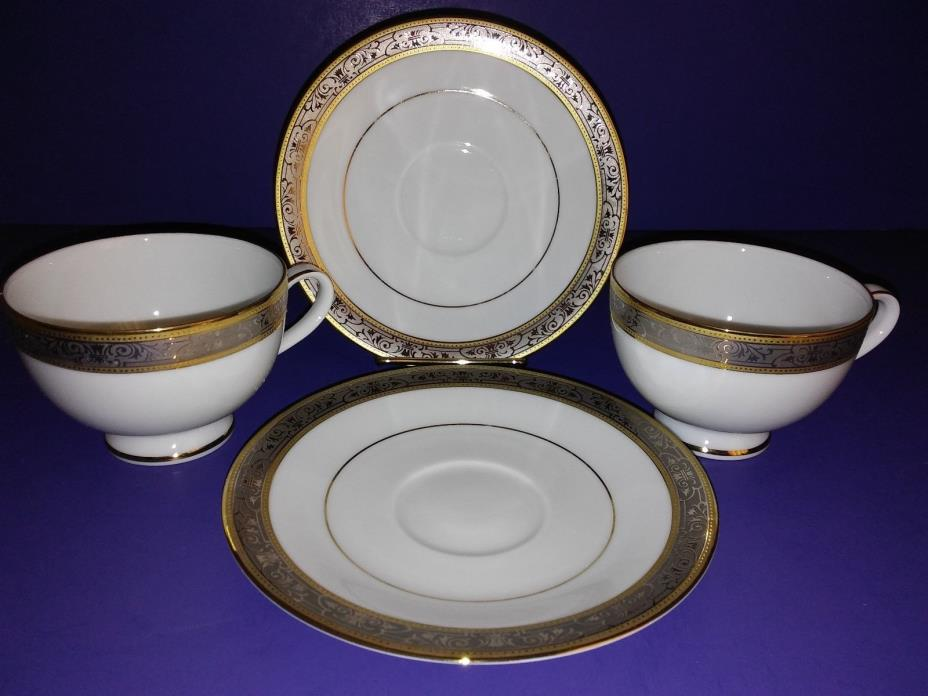 VTG WALLACE PORCELAIN GRAND VICTORIAN 2 TEA CUP & SAUCER SETS, SRI LANKA