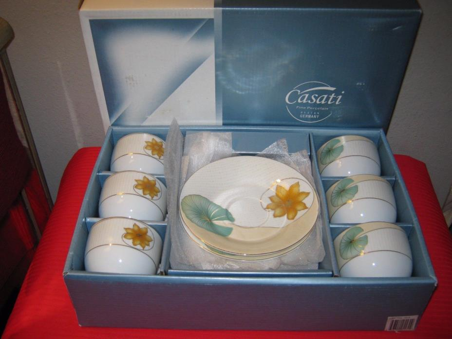 CASATI GERMANY Bavaria White Porcelain Gold Flower Green Leaf Cups Saucers (6)
