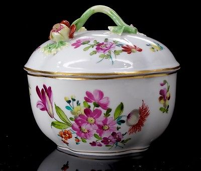 Antique Carl Thieme Dresden Porcelain Covered Sugar Bowl Trinket Box