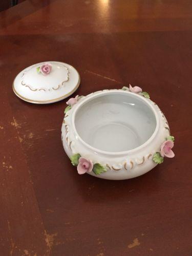 Vintage Dresden Design Sandizell Bowl Floral w/Gold Decor, Pink Roses